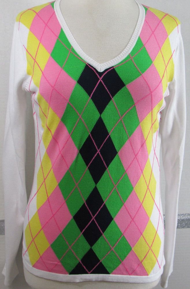 Golf Sweater V Neck Small Liz Claiborne Argyle White Pink green Yellow Navy Cott #LizGolf #Sweater
