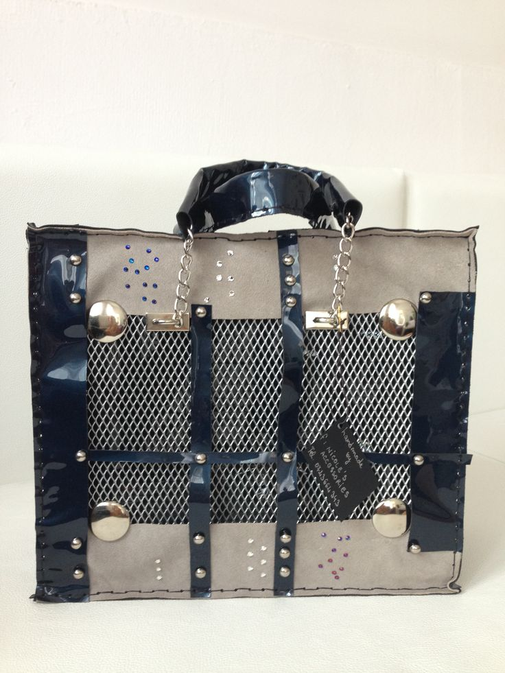 Handmade leather bag,with Swarovski crystals  and steelmesh