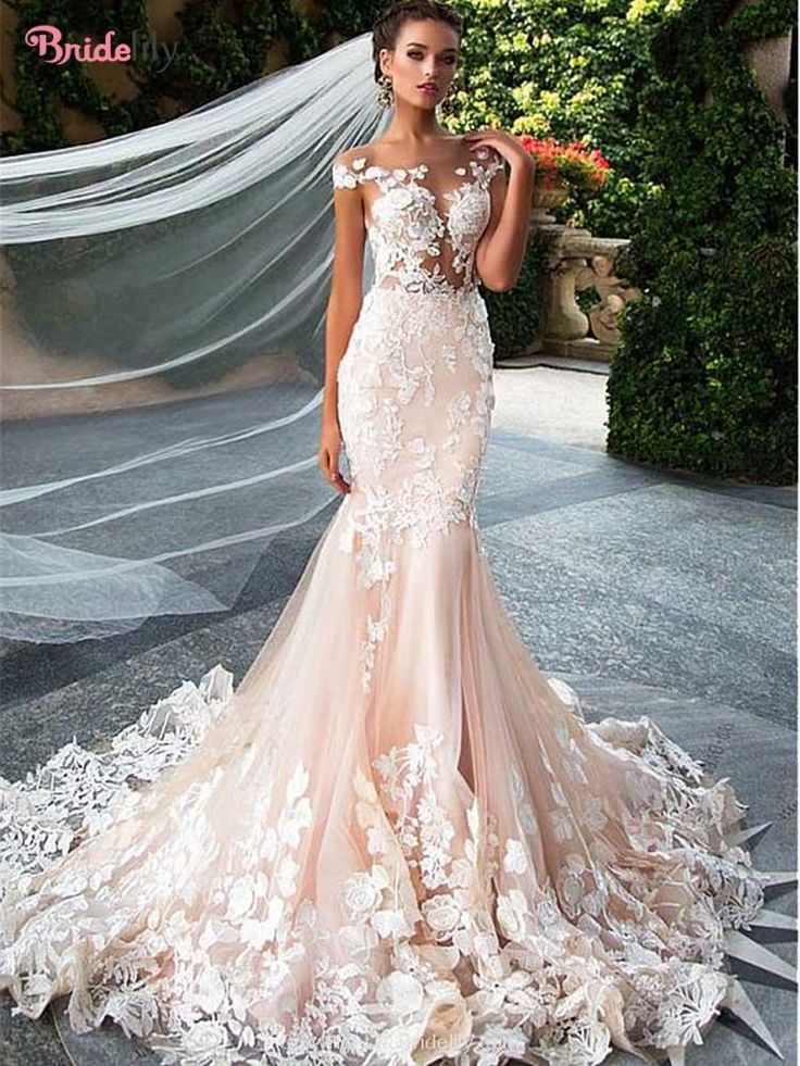 Glamorous Jewel Sleeveless Lace Mermaid Wedding Dresses