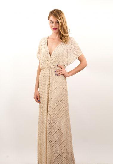 Μακρύ δαντελένιο κρουαζέ φόρεμα. | ΦΟΡΕΜΑΤΑ :: ZicZac