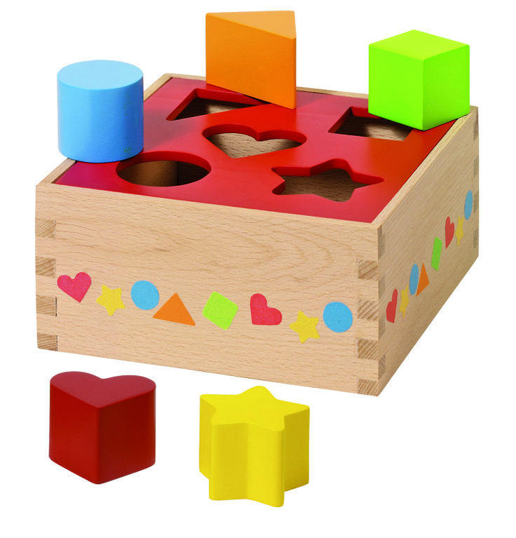 Natural and high quality toys to the development of the skills of children. Sort box, red, 5 pieces