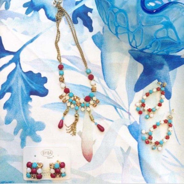 Collana oro e azzurra con rose bronzate Byba Bijoux