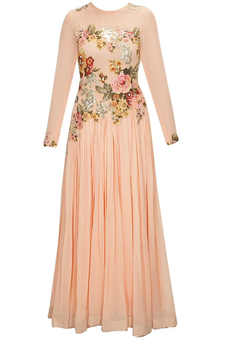 Peach floral applique work anarkali set available only at Pernia's Pop-Up Shop.