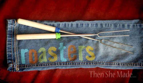 Roasting Stick Bag made of old jeans