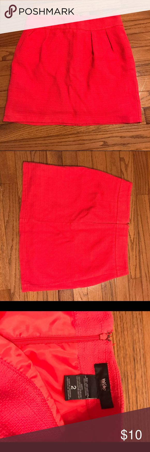 "EUC Coral Pencil Skirt This skirt is great for shorter women. I am 5'3"" and it was a professional length, without being as long as many traditional pencil skirts. Hits just slightly above the knee. Mossimo Supply Co Skirts Pencil"