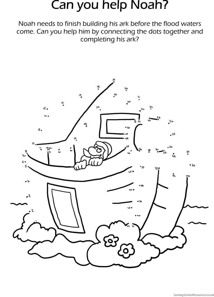 Noah & the Ark Dot-to-dot - Sunday School Worksheet