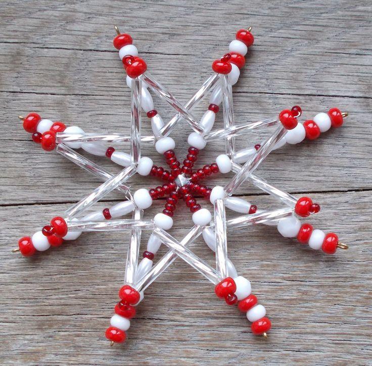 Korálková hvězda 3D - červenobílostříbrná (11)