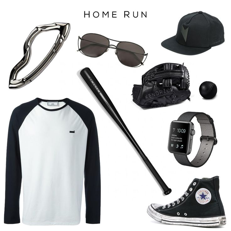 HOME RUN  Clockwise (starting from top left): Arcus carabiner keychain by SVORN, Aviator sunglasses by SENER BESIM, Ea7 baseball cap by EMPORIO ARMANI, Leather Baseball Glove & Baseball by KILLSPENCER, Apple Watch 3 by APPLE, Lace-up Sneakers by CONVERSE, Bleecker Baseball Bat by COACH, Baseball T-Shirt by AMI ALEXANDRE MATTIUSSI  #fashionbaseball #sports # #everydaycarry #sneakers #watches #gadgets #luxurylifestyle #luxurydesign #luxury #mensfashion #menswear #menstyle #mensaccessories…