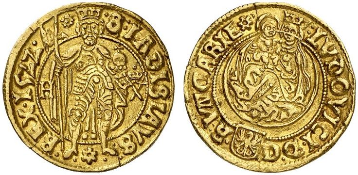AV Goldgulden. Hungary Coins, Elected Kings, Ludwig II. 1516-1526. Hermannstadt mint, 1522. 3,52g. F 39. RR! Nearly EF. Price realized 2011: 1.000 USD.