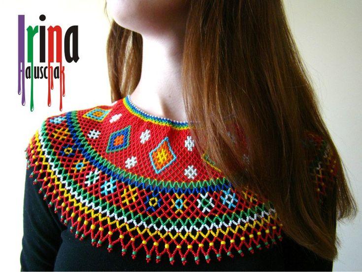 Ukrainian traditional necklace. Beaded collar. Lemko Kryza by IrinaHaluschak on Etsy