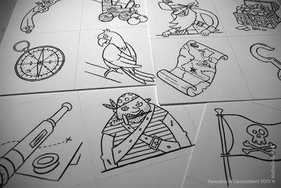 Jeu sur les pirates, les étapes créatives - Pancakes & Camembert - Illustrations Nathalie Quéré.