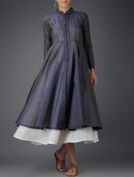 Grey-Ivory Chanderi Layered Dress with Cotton Slip (Set of 2)