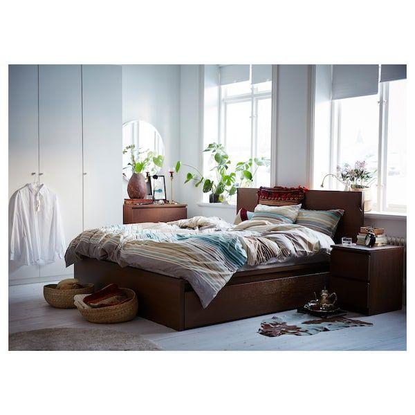 Malm Bedframe Hoog Met 2 Bedlades Bruin Gelazuurd Essenfineer Luroy 140x200 Cm Ikea High Bed Frame Malm Bed Frame Malm Bed