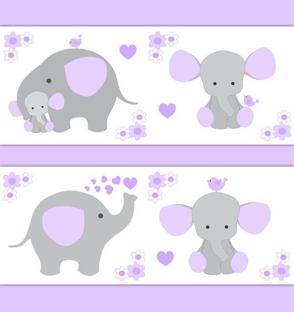 Purple Grey Elephant Nursery Baby Girl Wallpaper Border Wall Art Decal Stickers #decampstudios