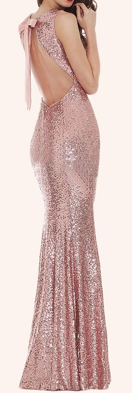 Mermaid Sequin Long Bridesmaid Dress Rose Gold Prom Dress #dress #gown #wedding #formaldress #formalgown #rosegold #weddingparty #prom #prom2017 #promdress #promgown