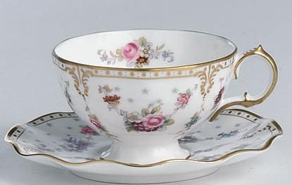 Royal Crown Derby Royal Antoinette teacup as seen in the 1995 version of Pride and Prejudice