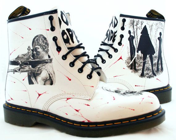 Walking Dead Dr Martens boots made to order.  The price includes a new pair of Dr Martens 1460 boots in your chosen size, all other materials and