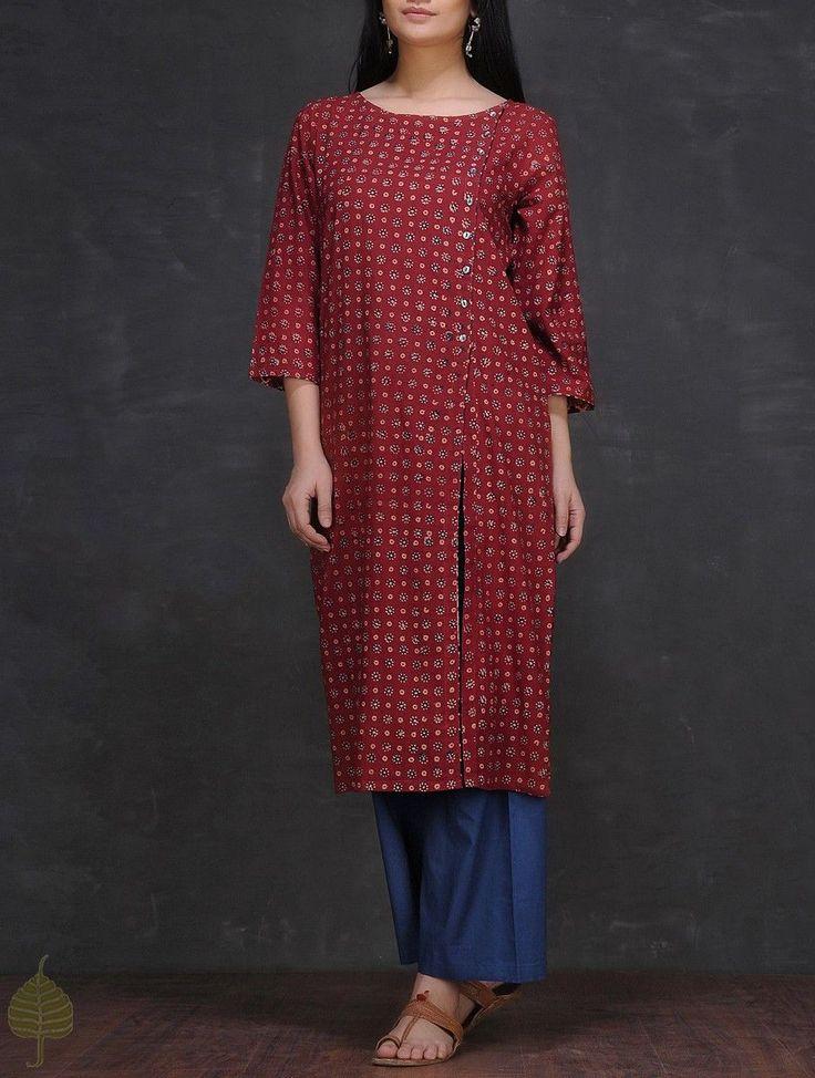 Buy Maroon Ivory Indigo Ajrakh printed Cotton Kurta with Side Slit by Jaypore Women Kurtas Online at Jaypore.com