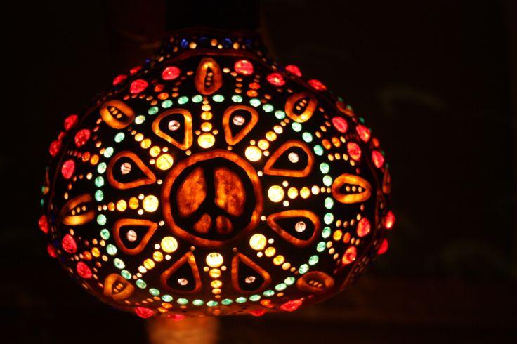 Gourd lamp #art #gourd #peace #love #music #light