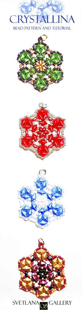 Crystallina Pendant was inspired by a geometry of a snowflake. Use this bead pattern and tutorial to create pendants, holiday decorations, and Christmas Tree ornaments!