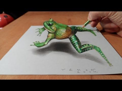 Trick Art, Drawing 3D Jumping Frog, Time Lapse - YouTube,  paralax,  colored pencil overlay, shading, outside the format/frame