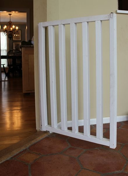 DIY Baby and Dog Gate Instructions - [or you could also use a side of a baby crib rail too]
