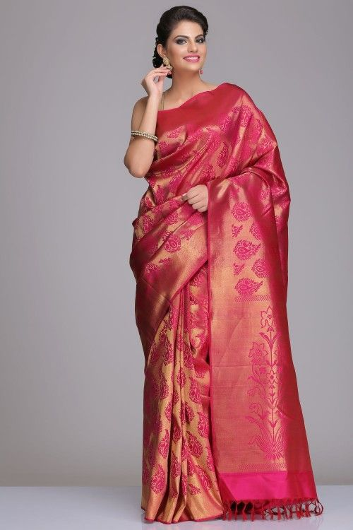 Buy Real Zari Kanjeevaram Silk Sarees Online | Dark Pink Kanjivaram Pure Silk Saree With All Real Zari Traditional Motifs, Pallu & Border | IndiaInMyBag.com