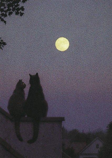 """Zwei Katzen auf einem Dach bei Vollmond.: """"Wusstest du eigentlich, dass nachts alle Katzen grau sind, miaaauu""""?"""