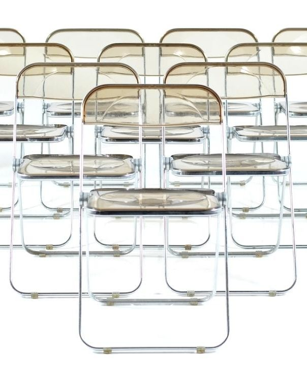 Giancarlo Piretti; Acrylic and Chromed Metal 'Plia' Folding Chairs for Castelli, 1970s.