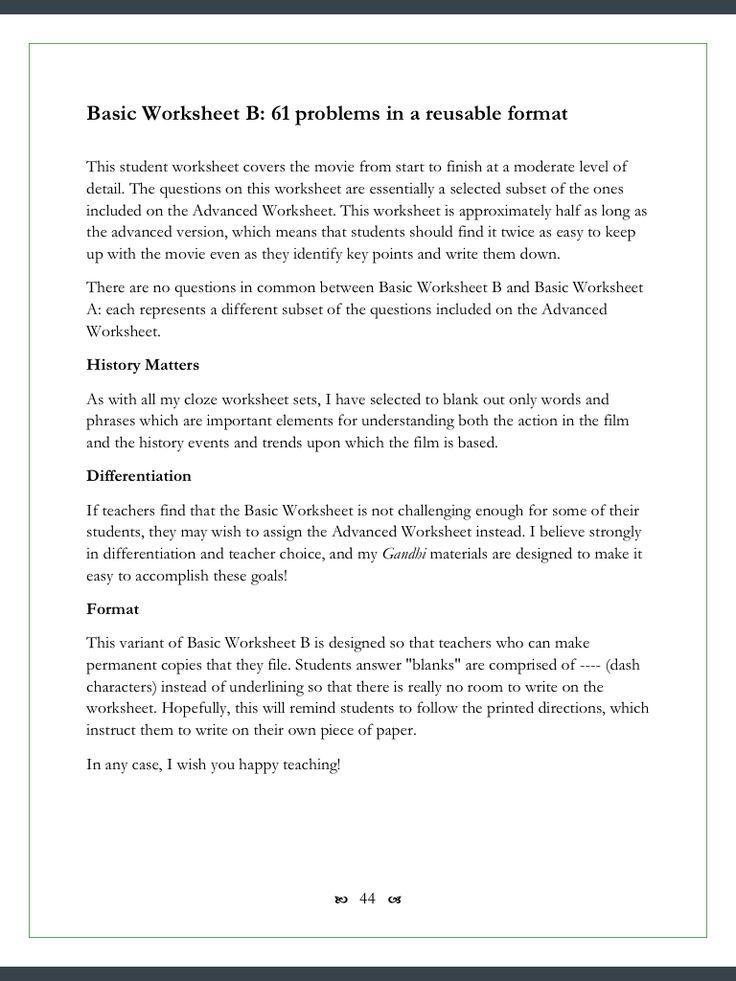 Gandhi Movie Worksheets 123 ClozeFillin Problems – Food Inc Movie Worksheet