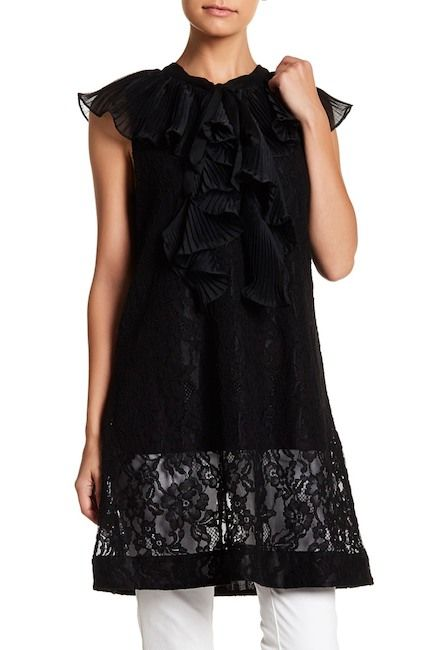 Image of TOV Ruffle Front Lace Tunic