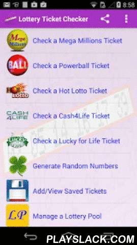 Lottery Ticket Checker  Android App - playslack.com ,  Free and unlimited!Mega Millions, Powerball, Hot Lotto, Cash4Life and Lucky for Life lotteries (USA only) lottery ticket checker with OCR (Optical Character Recognition) scanner technology. Quickly check the latest national results and lottery numbers. You can also save your numbers for future draw dates. Includes a useful random number generator.As a bonus, you can also manage a lottery pool with your friends and family with Lottery…