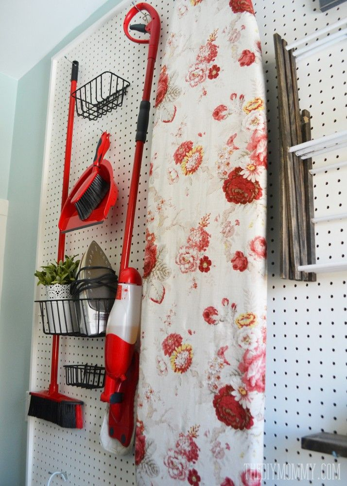 Vintage Red and Aqua Small Laundry Room Design Ideas | The DIY Mommy