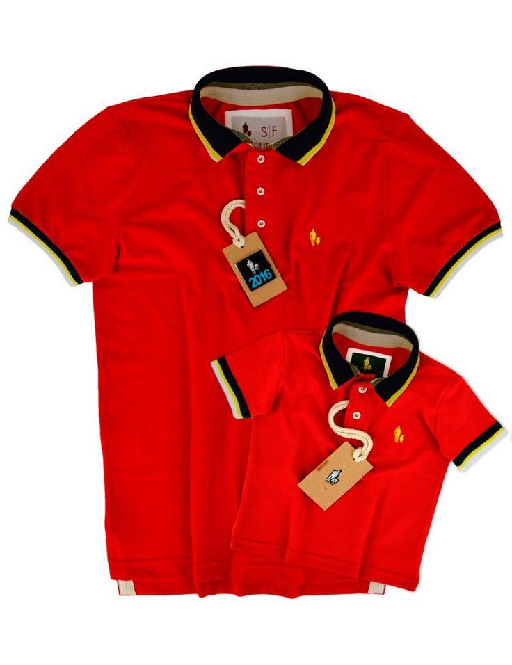 SheepFyeld | Kit Camisa Polo Tal Pai Tal Filho Gola e Punho Listrado (Vermelho) - Todos Os Tamanhos de P ao XXG