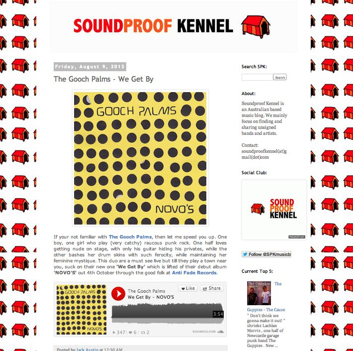 Soundproof Kennel support http://soundproofkennelmusic.blogspot.com/2013/08/the-gooch-palms-we-get-by.html