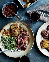 Grilled Butterflied Leg of Lamb with Ancho-Huckleberry Sauce | Food & Wine