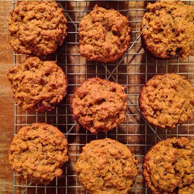 Carrot and bran, spelt muffins. Sweetened with honey and dates. Allll the fibre.
