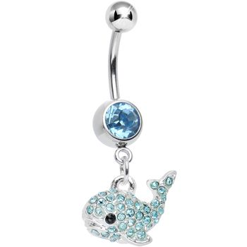Aqua Gem Tail of the Whale Dangle Belly Ring #BodyCandy #BellyRing #Trending