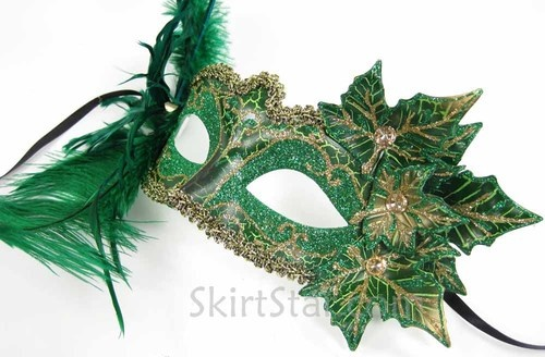 VENETIAN MASK masquerade fairy costume GREEN poison ivy faerie ethereal leaves