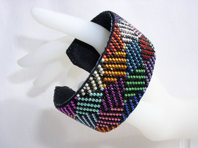Free Loom Bead Patterns | Rainbow of Triangles - Beaded Cuff Bracelet | Flickr - Photo Sharing ...