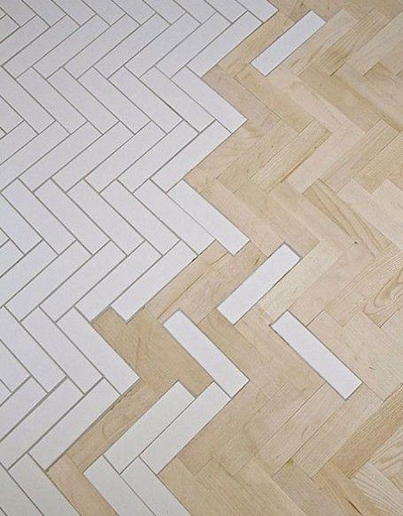 Fliesen und Parkett verschmelzen - Beautiful ceramic tile and wood parquet fusion floor.