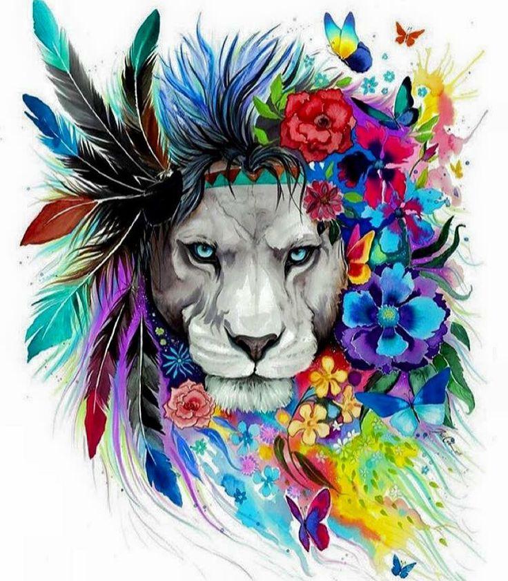 Floral Lion Art Tattoos Pinterest Kunst Lwe Und Lwe kunst