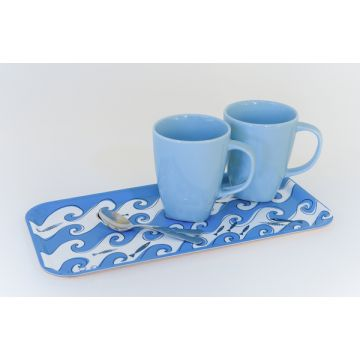 Fishy wavy design on wooden tray- perfect for a small meal.