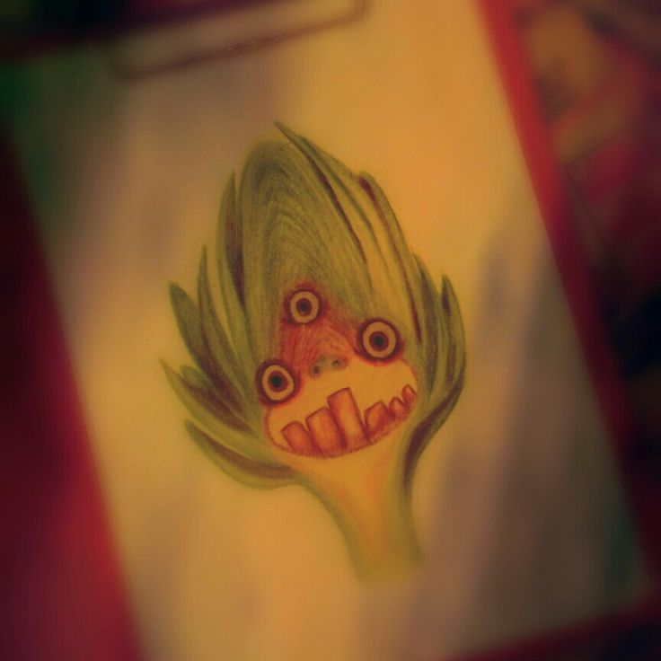 Enginardan canavar....:) artichoke monster...:) my work, paint, sketch