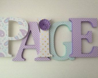 Wooden letters for nursery in pink, white, lilac and gray