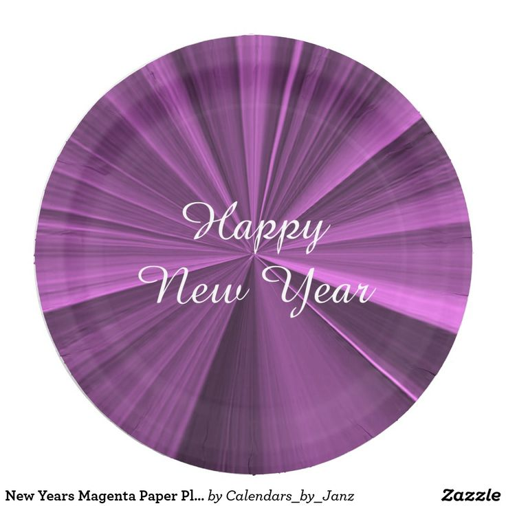 New Years Magenta Paper Plates by Janz 9 inch
