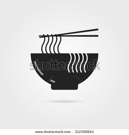 black bowl icon with chinese noodles and shadow. concept of prepare, culinary, eastern diet, cookery, cook, soba. isolated on gray background. flat style modern logotype design vector illustration - stock vector