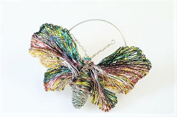 Butterfly brooch, burgundy brooch, green yellow, wire art sculptural jewelry, modern hippie, Christmas gift women, bridesmaid gift, coat pin  Handmade unique butterfly, burgundy brooch, contemporary jewelry made of colored copper and silver wire. The height of the green-yellow, wire sculptural, wearable art butterfly jewelry is 5,5cm (2.17in) and the width (body with wings) of the modern hippie, one of a kind, autumn, unique bridesmaid gift, is 8.5cm (3.35in). The coat pin is handmade…