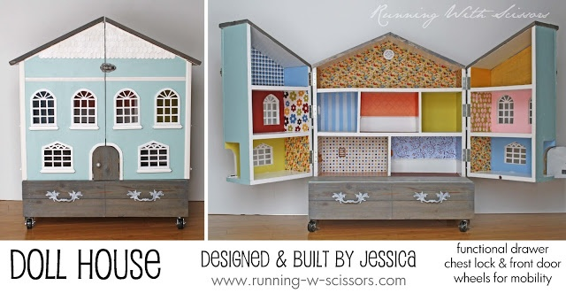 Running With Scissors: Doll House DIY Tutorials linked. Casters for mobility; drawer for storage.