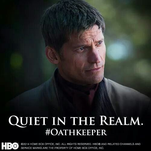 """Jaime Lannister. There is some good in him. """"Oathkeeper"""" is the name that Brienne gave to the sword Jaime gave her."""
